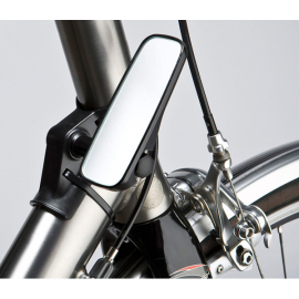 Adjustable mirror for head tube fitment, narrow, black