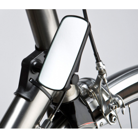 Adjustable mirror for head tube fitment, wide, black
