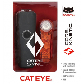 Cateye CATEYE SYNC SET CORE & KINETIC FRONT & REAR LIGHT SET:
