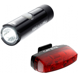 CATEYE VOLT 100 XC FRONT LIGHT & RAPID MICRO REAR USB RECHARGEABLE LIGHT SET: