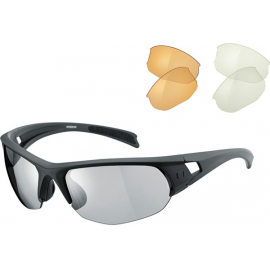 Mission glasses 3 lens pack - matt grey / silver mirror, amber & clear lens
