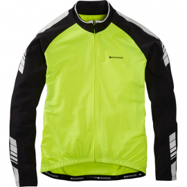 Peloton men's long sleeve thermal roubaix jersey, hi-viz yellow medium