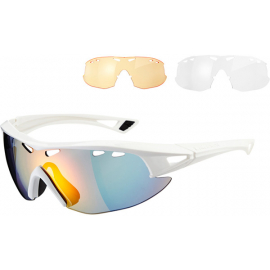 Recon glasses 3 lens pack - gloss white / fire mirror, amber & clear lenses